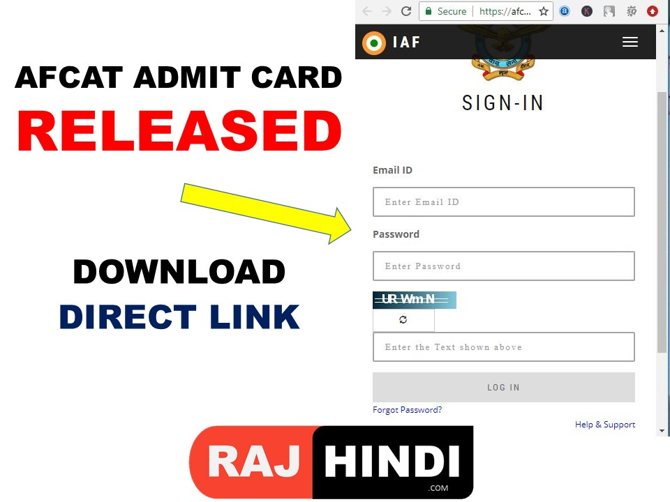 AFCAT ADMIT CARD DOWNLOAD 2019