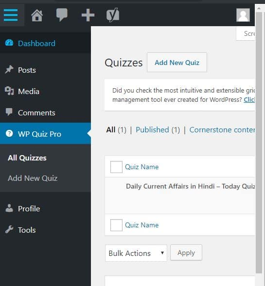 add new quiz as wp author